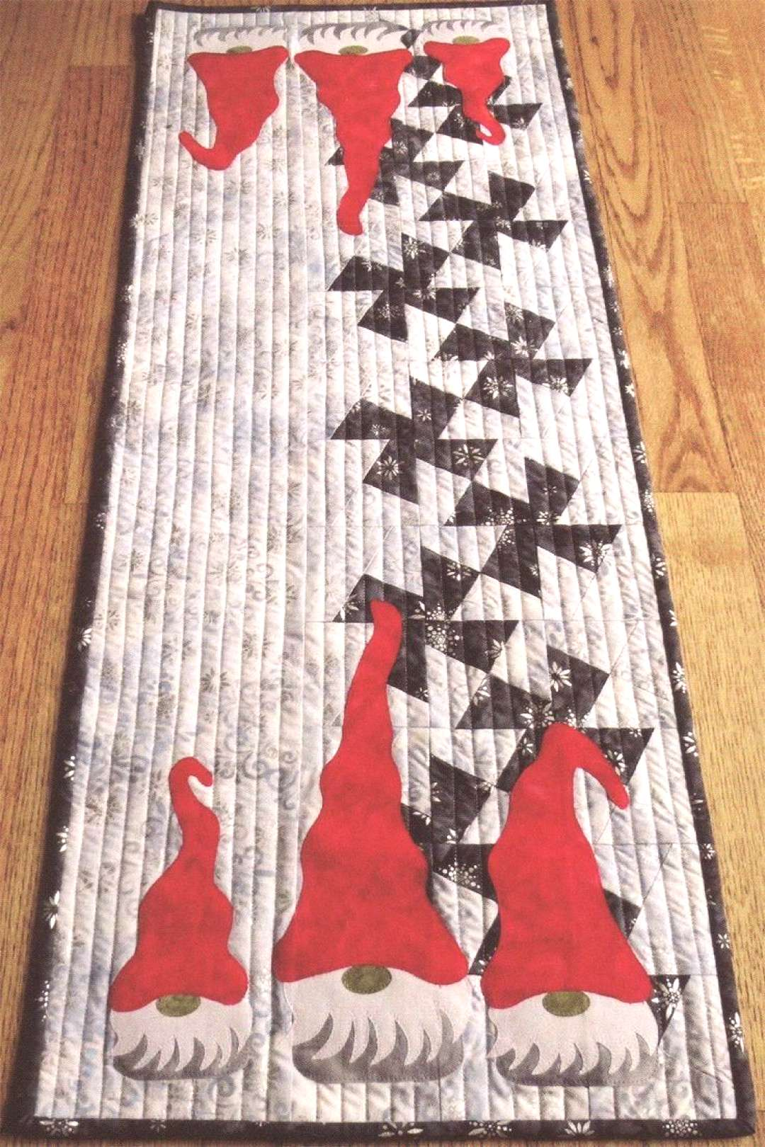 Twister Gnomes table runner sewing pattern from Around The Bobbin