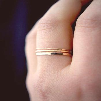 Basic Set of 3 in Gold-fill, set of 3, Medium Thickness, gold fill stacking rings, delicate gold st