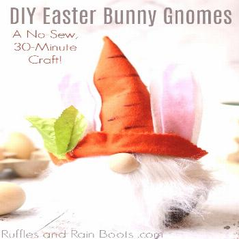 Easter Bunny Gnome - The Perfect Easter Gnome DIY! This no-sew Easter bunny gnome has floppy ears a
