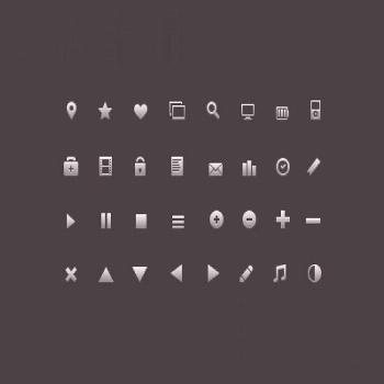 Set of glyphs icons ,