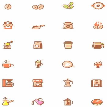 Set of the simple coffee related glyphs ,