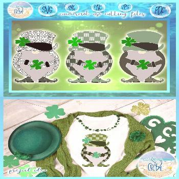St. Patrick's Day Gnomes with Clover Mandala Plaid SVG Dxf Eps Pdf PNG file for Cricut .....