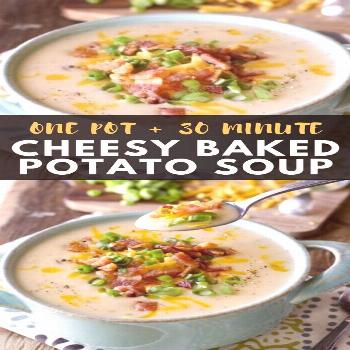 This Cheesy Potato Soup is a one pan, 30 minute meal! This gluten free comfort food is one your ent